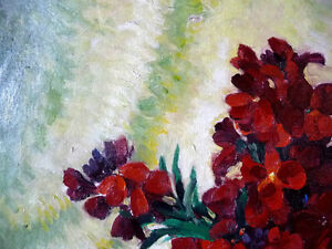 "Original, British Still Life by E. H. Mooney, ""Red Flowers"" Stratford Kitchener Area image 4"