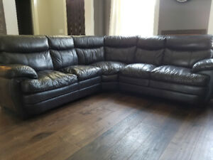 Chocolate Brown leather sectional sofa
