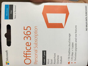 Office 365-one Year personal subscription for sale