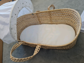 Moses basket, rocking stand, mattress and bedding
