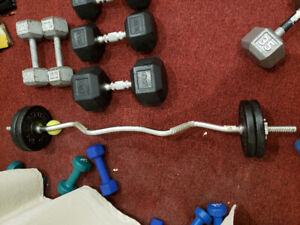 Dumbbells rubber weights hex bar plates like new