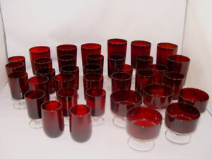 Vintage 1970's Red Ruby 44  pcs Glasses Sherbet  Dishes Perfect