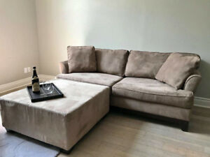 Taupe Upholstered Bauhaus Sofa (couch) w/  Coffee-table Ottoman