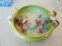 1900's Green Pottery Bowl with handles