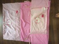 Babys cot bumper and quilt