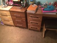 2 bedside 3 dwrs And free dresser desk