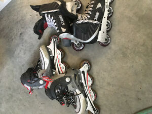 2 pairs used roller blades size 8