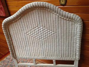 White Wicker Headboard - Twin Single Size