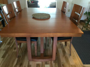 Solid Cherry Italian Made dining table and 6 leather chairs