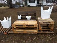 pallet bench .. flower box .. end tables ..