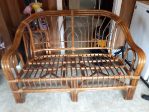 lawn furniture...wicker bench, 2 chairs, and coffee table