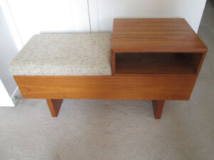 vintage Teak telephone bench table