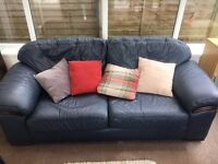 Quality leather large sofa and matching armchair