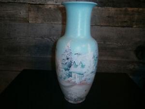 Vase turquoise vintage peint à la main