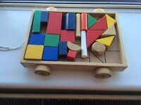 Toddler wooden bricks / pull along toy