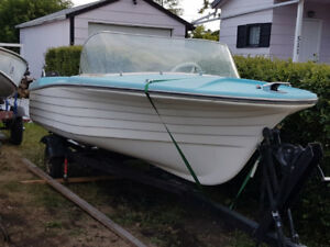 FIBERGLASS BOAT AND TRAILER WITH 40 HP MERCURY OUTBOARD