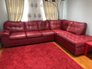 Red leather sectional sofa $299 obo