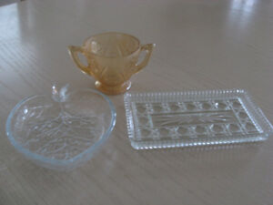 Butter tray, glass dish and sugar bowl