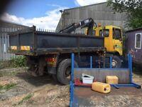 Old 18 ton Foden tipper hiab lorry