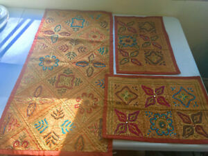 Never used Persian table runner with 2 place mats