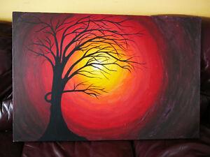 Superbe peinture/toile gr3'x2' SIGNÉE/acrylique coucher desoleil