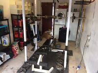 Squat rack/cage, bench and olympic weigjts