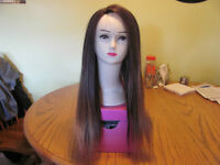 100% Human Hair  Brown/Golden Highlights Wig $260.00