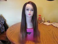 100% Human Hair  Brown/Golden Highlights Wig $260.00