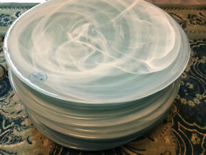 "16 pcs - NEW - Ecoglass Charger Plate 13.2"" White/Turquoise"