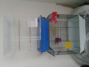 Bird cages with supplies
