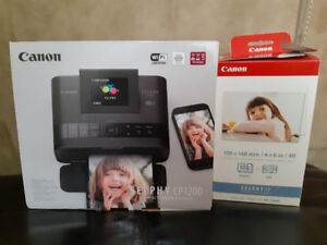 Canon Selphy CP1200 printer, ink and paper lot