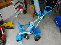 """Like New """"Little Tikes"""" tricycle with push bar / sunshade!"""