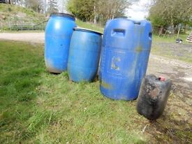 One large blue heavy duty plastic barrel, with two small screw top lids@ £10. ono