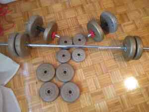Work out set - weights, dumbbells, barbell $60