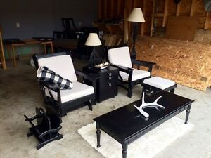(Sold)Cozy wood and cloth living room set