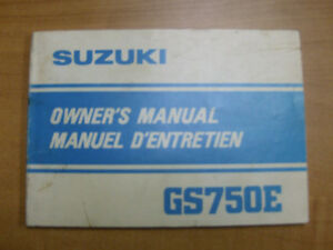 1982 SUZUKI GS750E OWNERS MANUAL Cambridge Kitchener Area image 1