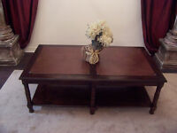 Fancy Large Leather and Solid Wood Coffee Table I DELIVER
