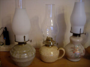 CERAMIC OIL LAMP COLLECTION, vintage, A - 1!