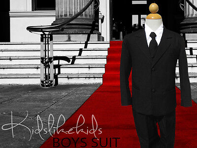 NEW Boys Toddler KIDS Black Suit Long Tie and Vest Size 2T 3T 4T 5 6 7 8 10 12