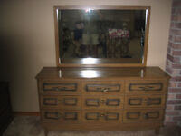 DRESSER WITH MIRROR AND ARMOIRE