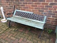 Old cast iron bench ready to be restored