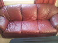 Burgandy 3 seater Leather Couch $40.00