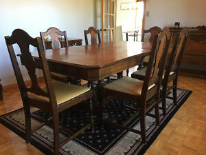 Antique dining table, chairs, sideboard and cabinet