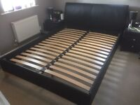 Black leather (faux) king size bed frame