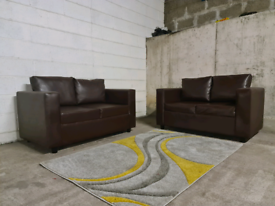 FREE DELIVERY 🚚 2+2 Brown leather sofa suite, Couch, Chair, Furniture