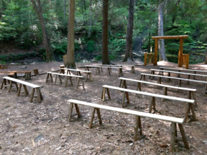 FOR RENT - Rustic wooden benches