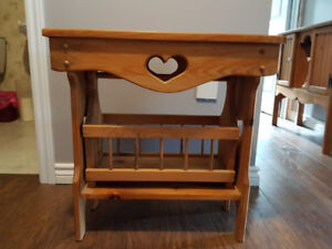 Pine End Table with Magazine Rack