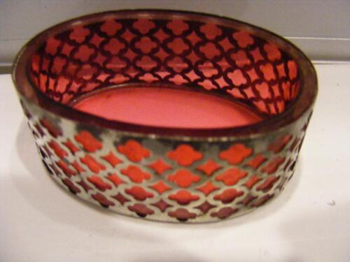 1898 Open SALT Cellar DISH STERLING SILVER Red Cranberry GLASS WALTROUS Antique