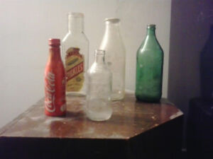 Vintage bottles, Milk, Pickles, 7up, Pepsi, Coca-Cola