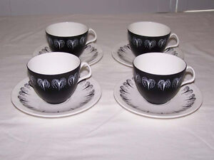 """Foley China """"Domino"""" by Hazel Thumpston, 4 Cups and Saucers"""